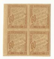 Taxe Colonies Françaises N°24 (60 Cts Brun Jaunatre) En Bloc De 4 - Neufs - Postage Due