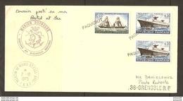 TAAF LETTRE MARTIN VIVIES 1975 MARION DUFRESNE POUR GRENOBLE POSTE RESTANTE - 3 CACHETS PAQUEBOT SUR TIMBRE LE FRANCE - Storia Postale