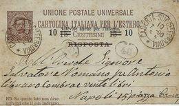 INTERO REGNO  UMBERTO I 10 + 10 Su 15 CENT UPU RISPOSTA 1890 CASERTA X NAPOLI - 1878-00 Humbert I.