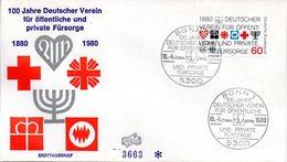 """BRD Schmuck-FDC """"100 Jahre Deutscher Verein Für öffentliche Und Private Fürsorge"""" Mi.1044  ESSt BONN 1, 10.4.1980 - FDC: Covers"""