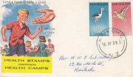 New Zealand Children's Health Camps KAIKOHE 1959 FDC Cover Ersttags Brief Bird Vogel Oiseau Complete Set !! - FDC