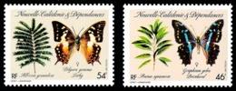 NOUV.-CALEDONIE 1987 - Yv. 533 Et 534 **   Cote= 4,70 EUR - Flore & Papillon Graphium & Polyura (2 Val)  ..Réf.NCE25245 - Neufs