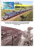 PREMIER JOUR TGV EST EUROPEEN HETTANGE-GRANDE 2007 - Gedenkstempel