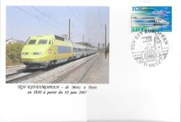 PREMIER JOUR TGV EST EUROPEEN METZ 2007 - Gedenkstempel