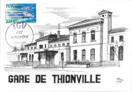 PREMIER JOUR TGV EST EUROPEEN THIONVILLE 2007 - Marcophilie (Lettres)
