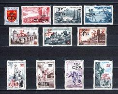 REUNION CFA N° 320 à 330   NEUFS SANS CHARNIERE COTE 46.00€  TIMBRES DE FRANCE SURCHARGES - Reunion Island (1852-1975)