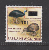 Papua New Guinea, 1990, Kiwi, Emu, Overprinted 10t On 35t, MNH** - Kiwi