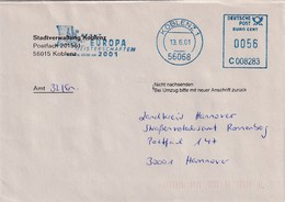 Germany Deutschland 2001 Cover: Sport Fencing Fechten European Championship Koblenz; Ema Freistempel Meter Cancellation - Fencing
