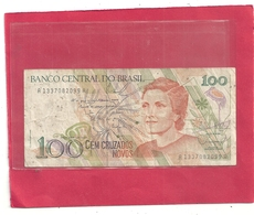 BANCO CENTRAL DO BRASIL . CEM  CRUZEIRO NOVOS  . 1989 . N° A1337082099R  . 2 SCANES - Brazil