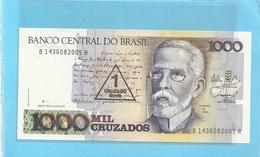 BANCO CENTRAL DO BRASIL . PROVISIONAL ISSUE  1  CRUZADO NOVO On 1.000 CRUZADOS . 1989 . N° B 1436082005A  . 2 SCANES - Brazil