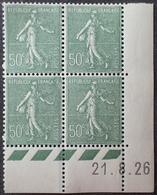 R1189/371 - 1926 - TYPE SEMEUSE LIGNEE - BLOC Signé - N°198 TIMBRES NEUFS** BdF Daté - Coins Datés