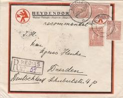 Roumanie Lettre Recommandée Pour L'Allemagne 1937 - Marcofilia