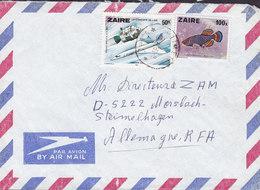 Zaire Par Avion LIMETE 1980 Cover Lettre STEIMELHAGEN Germany Conquette De L'air Concorde 100 K Fish Poisson Fisch - Congo - Kinshasa