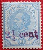 Hulpzegel Overprint 2 1/2 Cent  NVPH 24 1895 Ongebruikt / MH CURACAO - Curacao, Netherlands Antilles, Aruba