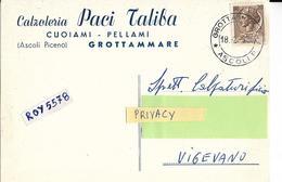 Marche Ascoli Piceno Grottammare Pubblicita Calzoleria Paci Taliba Da Grottammare Spedita A Vigevano Lombardia (v,retro) - Pubblicitari