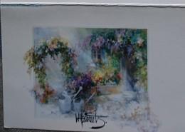 Petit Calendrier Poche 1995 Peinture Aquarelle Jardin Fleurs Arrosoir - Calendars