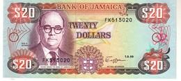 Jamaica P.72 20 Dollars 1989  Unc - Giamaica