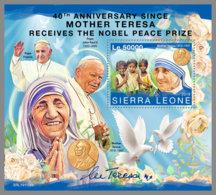 SIERRA LEONE 2019 MNH Mother Teresa Nobel Prize Winner Nobelpreis Prix Nobel S/S - IMPERFORATED - DH1951 - Mère Teresa