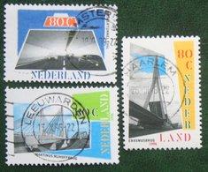 Bridges, Bruggen, Ponts, Brucke NVPH 1687-1689 (Mi 1585-1587) 1996 Gestempeld / Used NEDERLAND / NIEDERLANDE - 1980-... (Beatrix)