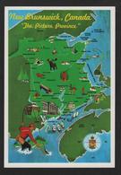 """- Canada - NEW BRUNSSWICK """"The Picture Province"""" Juniper,Oromocto,Wickham,Cormierville,Moncton,Newcastle,Bathurst - Cartes Géographiques"""