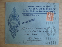 ENVELOPPE A. GRUMBERG FABRIQUE DE CASQUETTES PARIS - Marcophilie (Lettres)