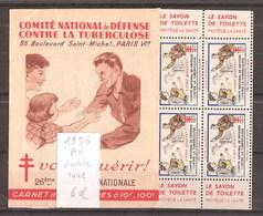 France Carnet De 10 Vignettes Contre La Tuberculose 1956 Complet Sans Aucune Adhérence - Altri