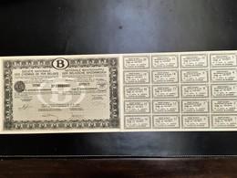 Chemins De Fer Belges - Titre De 5 Actions De Jouissance - 1937 N° 032465 - Chemin De Fer & Tramway