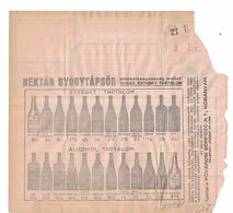 Télégramme Avec Publicités De Hongrie (1937) : Bouteille Alcool - Wein & Alkohol