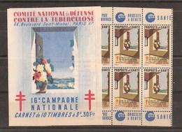 France Carnet De 10 Vignettes Contre La Tuberculose 1946 Complet Sans Aucune Adhérence - Autres