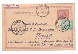 Agypten , Ganzsache Aus Port Said Via Suez Nach Tanga , 1906 - 1866-1914 Ägypten Khediva