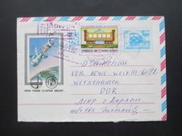 Mongolia / Mongolei 1982 Russischer GA Umschlag Thematik Raumfahrt Interkosmos Einschreiben In Die DDR - Mongolie