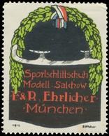 München: Sportschlittschuh Modell: Salchow Reklamemarke - Erinnofilia
