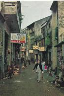 CARTE PUB AMORA ESCALE A MACAO SCENE DE RUE  TIMBREE DU PAYS SUJET  - 1965 - Publicité