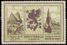 Greifswald: Verlag Des Albums Greifswald Und Umgebung Reklamemarke - Erinnofilie