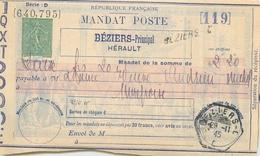 MANDAT POSTE  1945 Entier Semeuse Sans Valeur De Béziers à Mirepoix  2 Scans - Enteros Postales