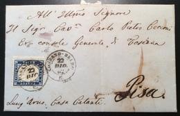 """""""COSSANO BELBO C / 22 DIC 1862"""" RR ! Piemonte, Cuneo, Torino 1862 20c Lettera (Regno D' Italia Cover - Marcophilia"""
