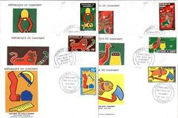 Benin Dahomey 306A Et 307/10 Fdcs Emblèmes Et Armoiries Des Rois D'Abomey - Sobres