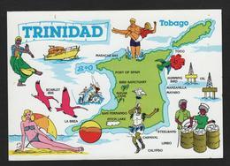 Belle Carte Géographique - TRINIDAD , Maracas Bay,Port Of Spain,Brid Santuary,San Fernando, Pitch Lake - Landkaarten