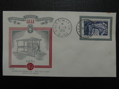 1951 - YT N° 881 PRODUITS TEXTILES Sur ENVELOPPE ILLUSTRÉE PREMIER JOUR FDC Cachet Special LILLE ST MARTIN - 1950-1959