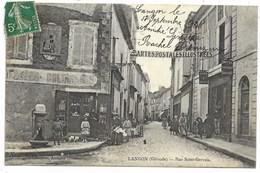 33-LANGON-Rue Saint-Gervais...1908  Animé  Magasin De Cartes Postales... - Langon