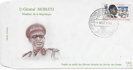 Enveloppe FDC Général Mobotu 1966 Un Peu Jaunie Au Verso - FDC