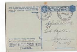 AG1242 01  FRANCHIGIA BRESCIA SEZIONE MILITARE CENSURA GUERRA X LORESINA - 1900-44 Vittorio Emanuele III
