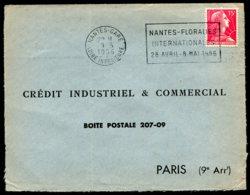 16203 FRANCE N°1011° Flamme Nantes-Floralies Internationales 28 Avril-8 Mai 1956  Nantes- Gare Du  9.5.1956  B/TB - Marcophilie (Lettres)