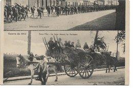 """L120C631 - Guerre De 1914. - Infanterie Allemande Et Fuite Devant Les """"barbares"""" - Imprimeries  Réunies Nancy - War 1914-18"""