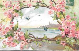 VA OU TON COEUR TENVOIE GAUFREE EN RELIEF SCINTILLEMENTS HIRONDELLES FLEURS - Fantasia