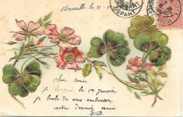 HEUREUSE ANNEE  GAUFREE EN RELIEF FLEURS DORURES SERIE 88 - Fantasia