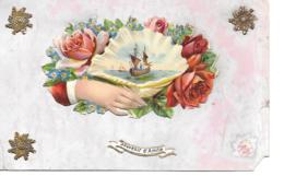 SOUVENIR DAMITIE   GAUFREE EN RELIEF  ROSES MAIN VOILIER - Fantasia