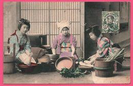 Hanoï - 3 Femmes - Geishas - Japon - Japan - Geisha - 1910 - Timbre 5c Indochine - Cambodge