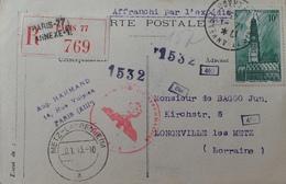 R1947/302 - CP Censurée Par Les Allemands - N°567 ARRAS - PARIS > LONGEVILLE-LES-METZ (LORRAINE) 12 JANVIER 1943 - Guerres