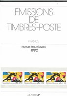 France, Notices Philatéliques Année 1992, 36 Fiches - Timbres